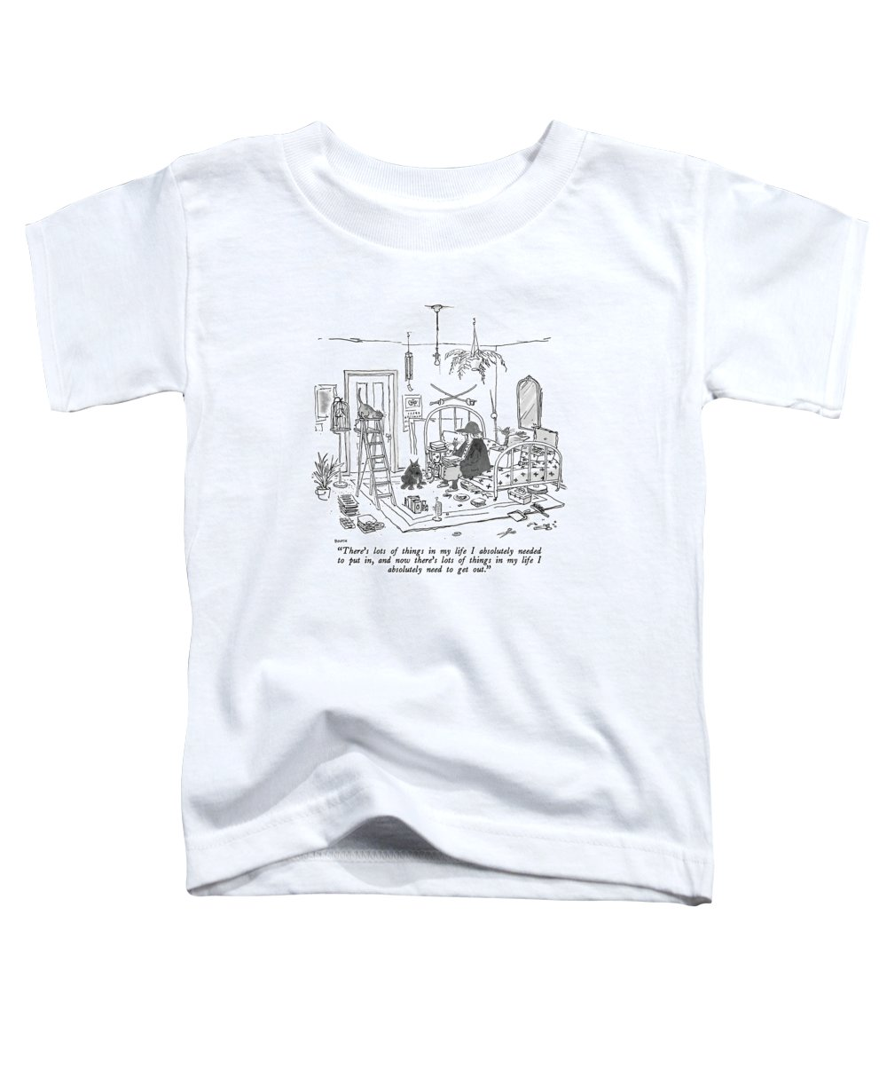 Old Lady With Baseball Cap To Her Many Pets As She Sits On The Bed In Her Apartment. Her Junk Has Been Neatly Lined Up. Interiors Toddler T-Shirt featuring the drawing There's Lots Of Things In My Life I Absolutely by George Booth