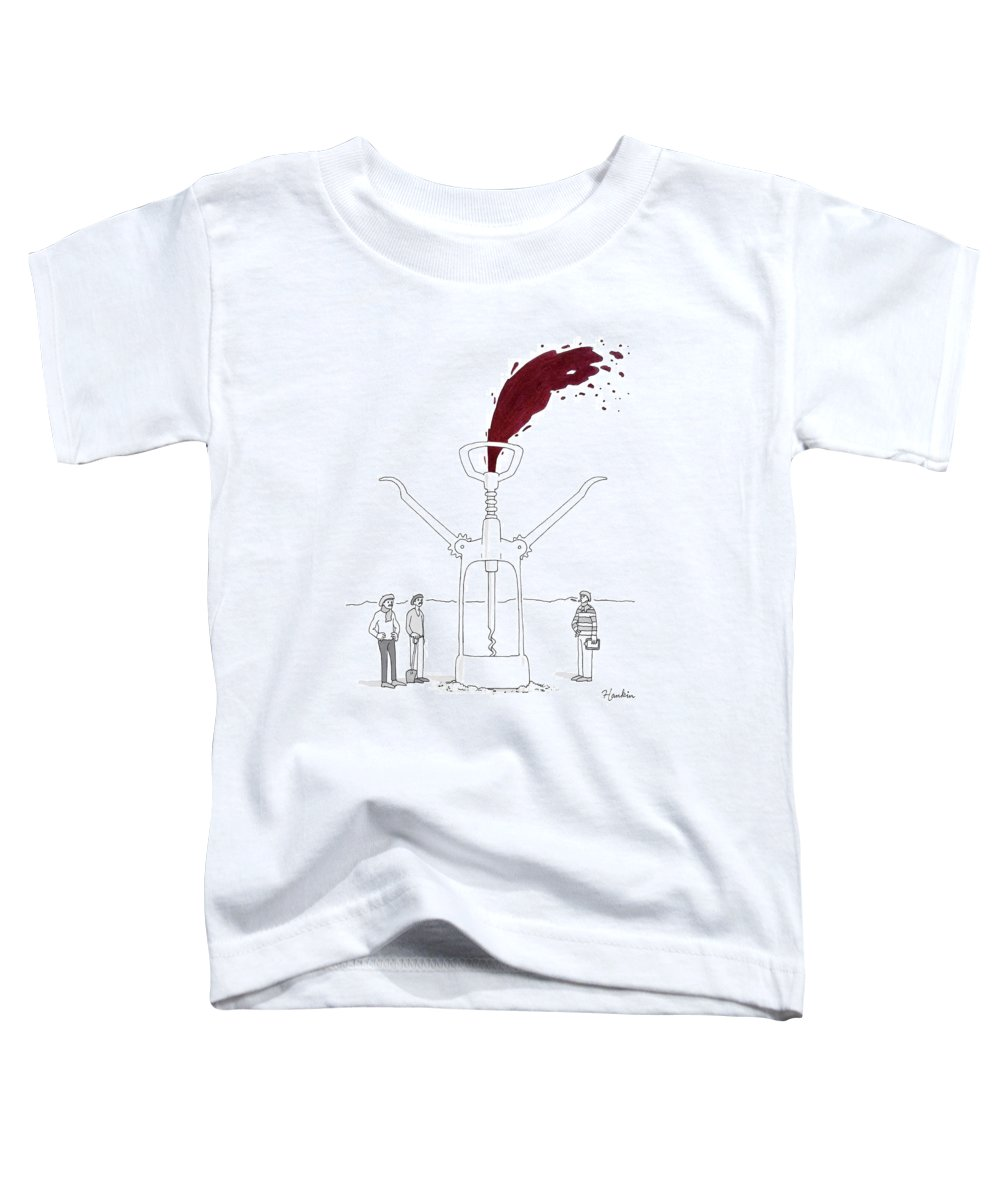 Captionless Toddler T-Shirt featuring the drawing Three Men In Berets Drill Into The Ground by Charlie Hankin