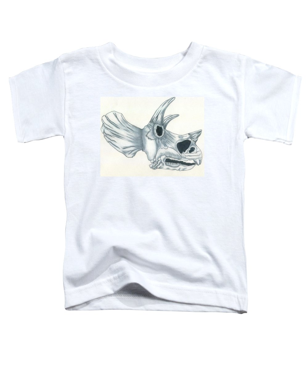 Dinosaur Toddler T-Shirt featuring the drawing Tricerotops Skull by Micah Guenther