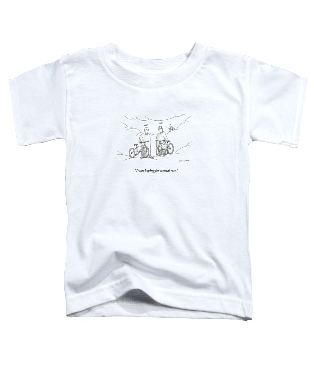 Angels Toddler T-Shirt featuring the drawing Two Angels With Bicycles Converse. Another Angel by Mick Stevens