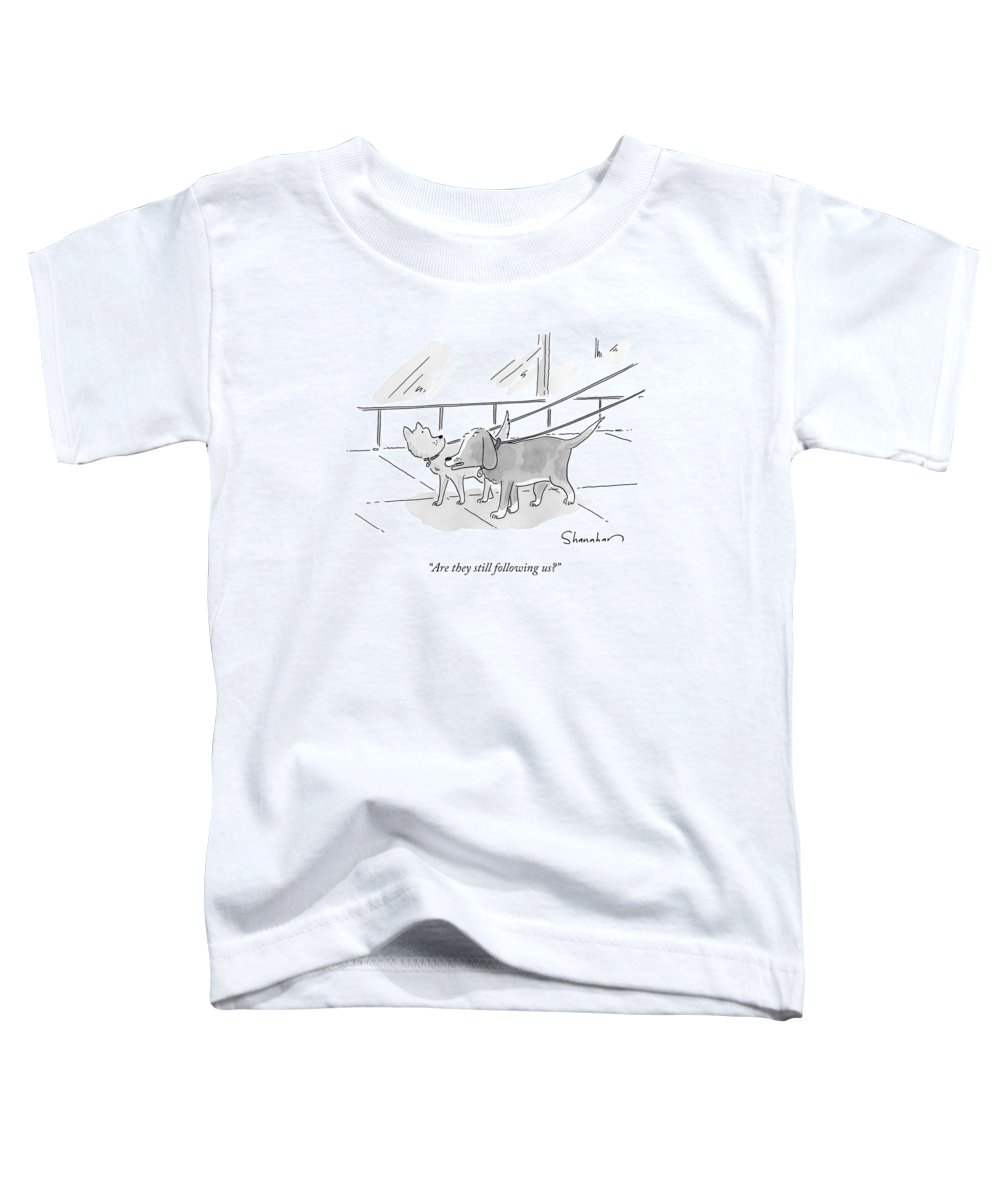 Dogs Toddler T-Shirt featuring the drawing Two Dogs On Leashes by Danny Shanahan