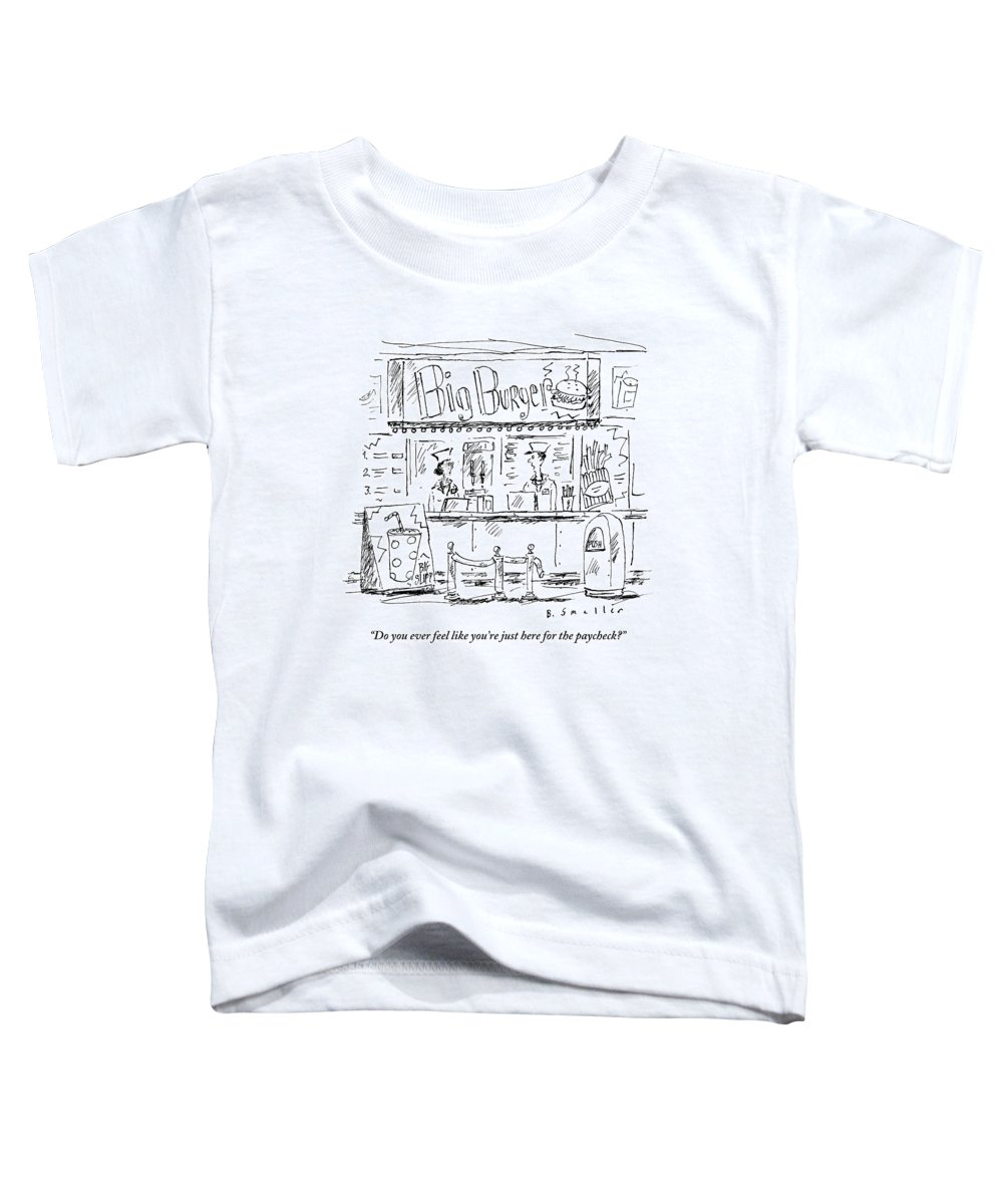 Cashier Toddler T-Shirt featuring the drawing Two Employees Converse Within A Hamburger Stand by Barbara Smaller