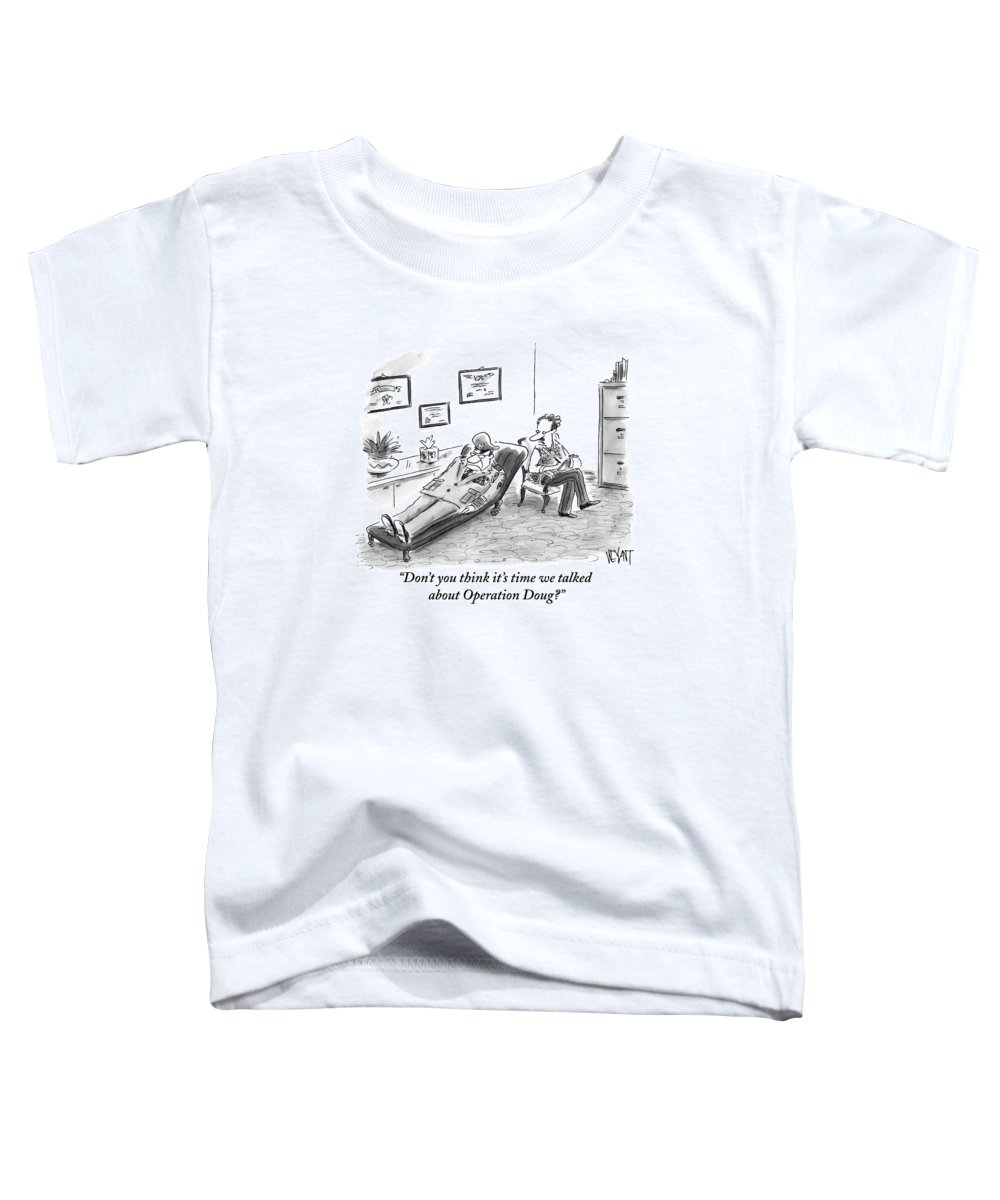 Army Toddler T-Shirt featuring the drawing Don't You Think It's Time We Talked by Christopher Weyant