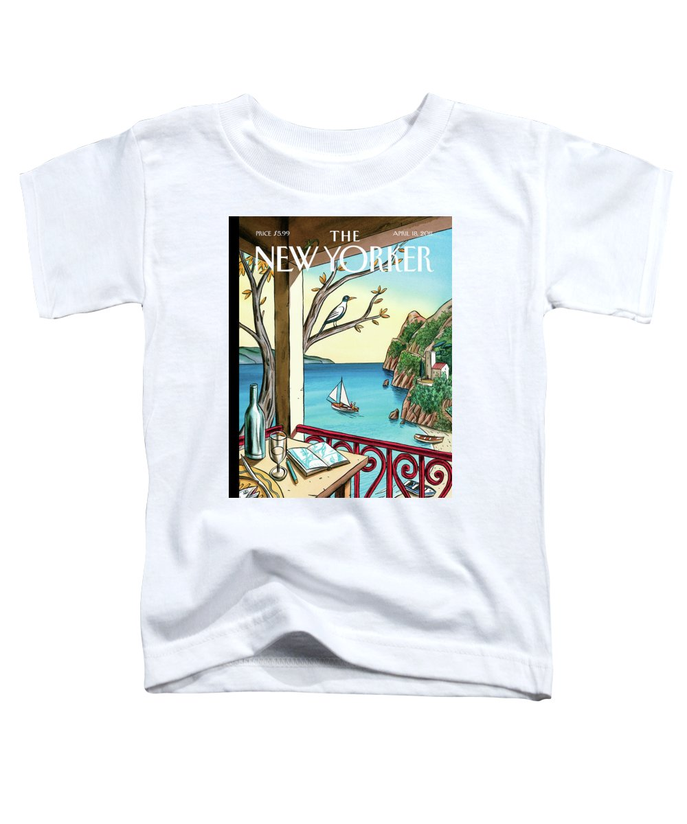 Balcony Toddler T-Shirt featuring the painting Drawing While Waiting by Jacques de Loustal