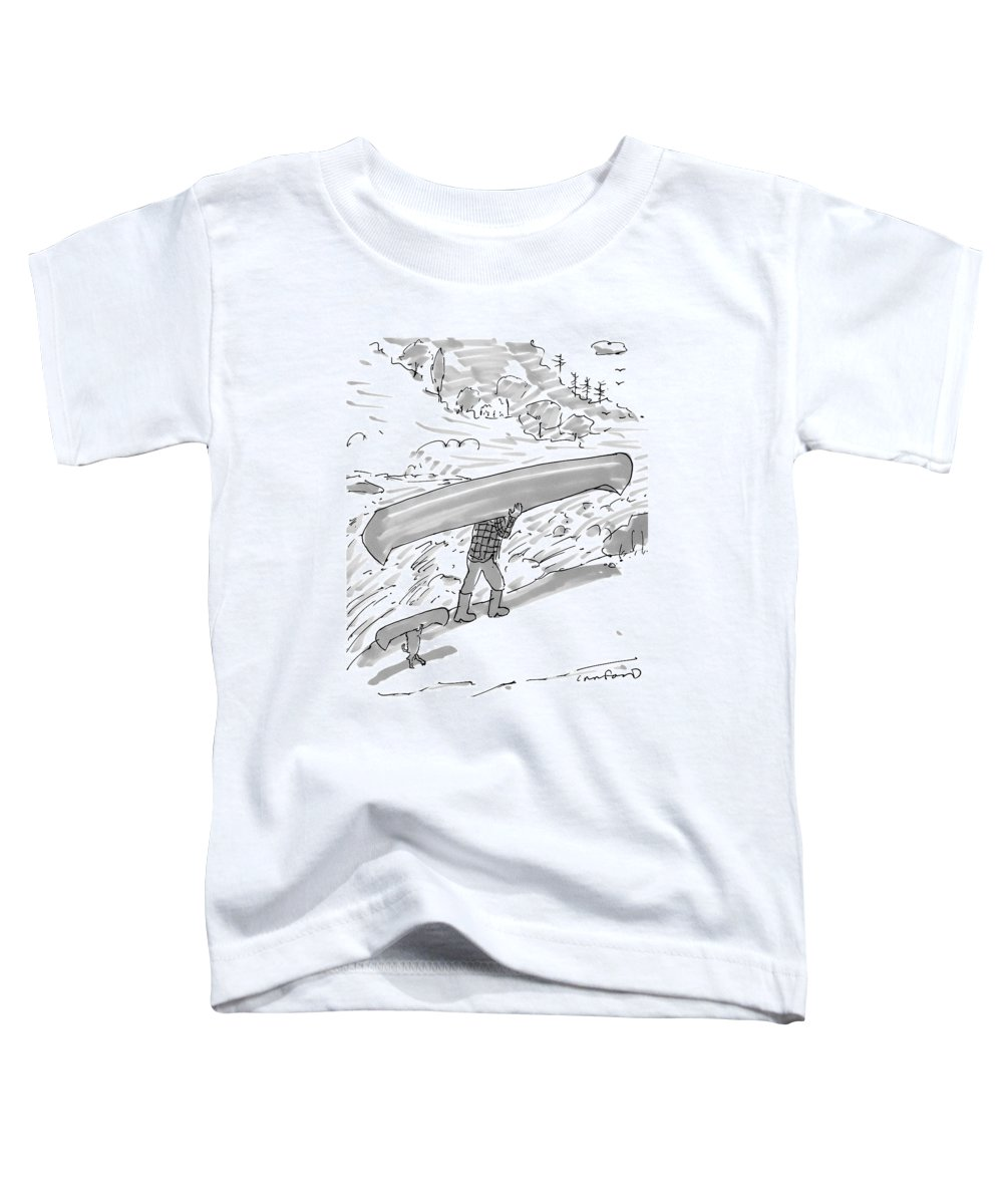Canoe Toddler T-Shirt featuring the drawing New Yorker October 17th, 2016 by Michael Crawford