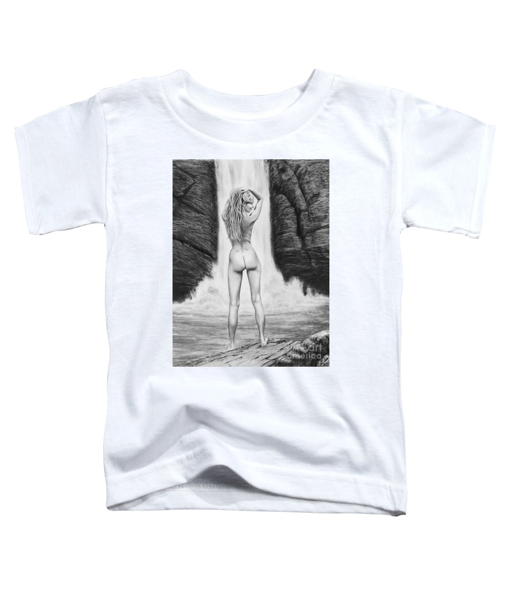 Waterfall Toddler T-Shirt featuring the drawing Waterfall Pin Up Girl by Murphy Elliott