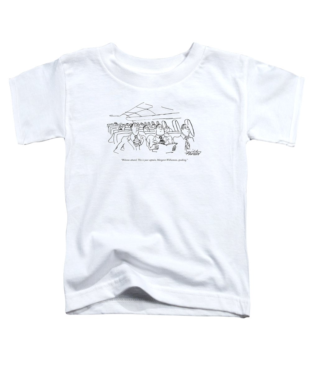 (planeful Of Obviously Surprised Businessmen Listen To Pilot's Voice Over Intercom.) Travel Toddler T-Shirt featuring the drawing Welcome Aboard. This Is Your Captain by Mischa Richter