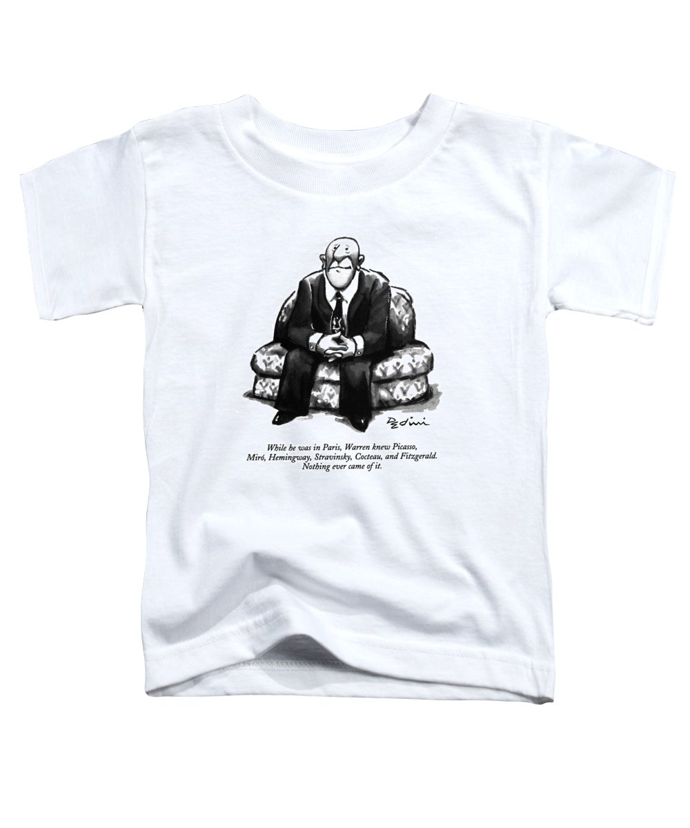 (a Rather Unhappy-looking Man Sits On A Sofa With His Hands Folded) Psychology Toddler T-Shirt featuring the drawing While He Was In Paris by Eldon Dedini