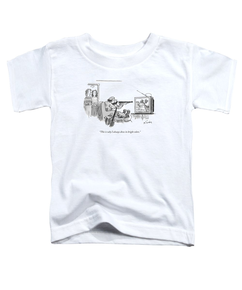 Sports Hunting Television Interiors  Toddler T-Shirt featuring the drawing Wife Talking To Neighbor About Husband by Mike Twohy