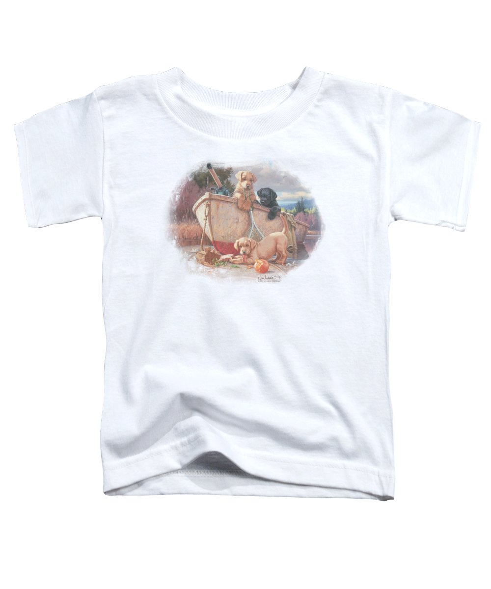 Wildlife Toddler T-Shirt featuring the digital art Wildlife - Lunch Break Lab Pups by Brand A
