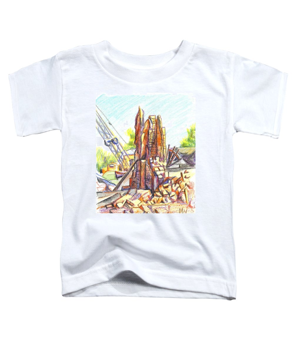 Wrecking Ball Toddler T-Shirt featuring the painting Wrecking Ball by Kip DeVore