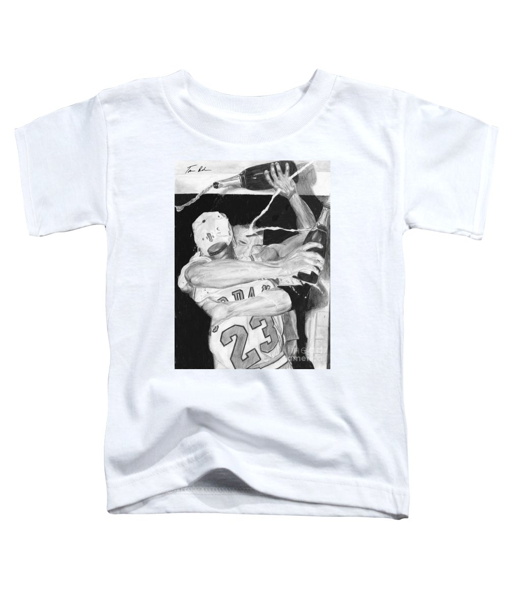 Chicago Bulls Toddler T-Shirt featuring the drawing Bulls Celebration by Tamir Barkan