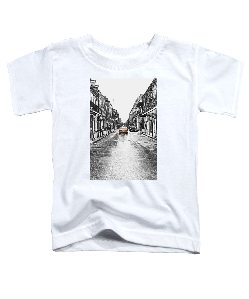 Travelpixpro French Quarter Toddler T-Shirt featuring the digital art Bourbon St Taxi French Quarter New Orleans Color Splash Black And White Colored Pencil Digital Art by Shawn O'Brien