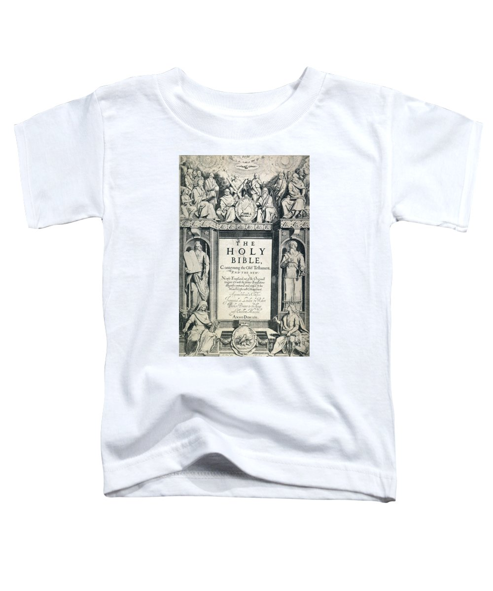 1611 Toddler T-Shirt featuring the photograph King James I Bible, 1611 by Granger