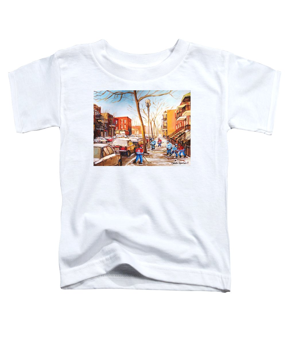 Montreal Street Scene With Boys Playing Hockey Toddler T-Shirt featuring the painting Montreal Street With Six Boys Playing Hockey by Carole Spandau