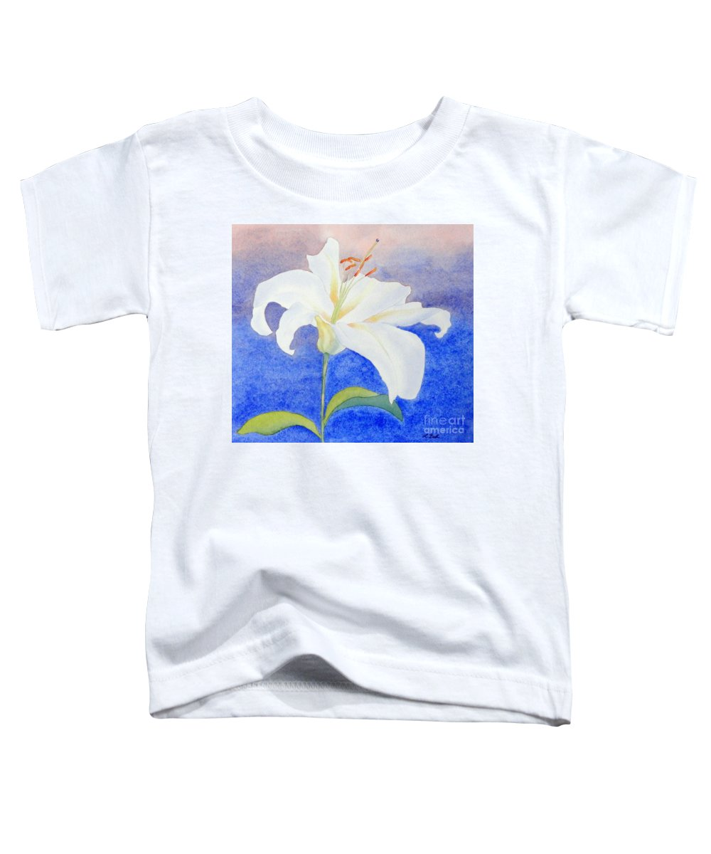 White Toddler T-Shirt featuring the painting White Lily by Laurel Best