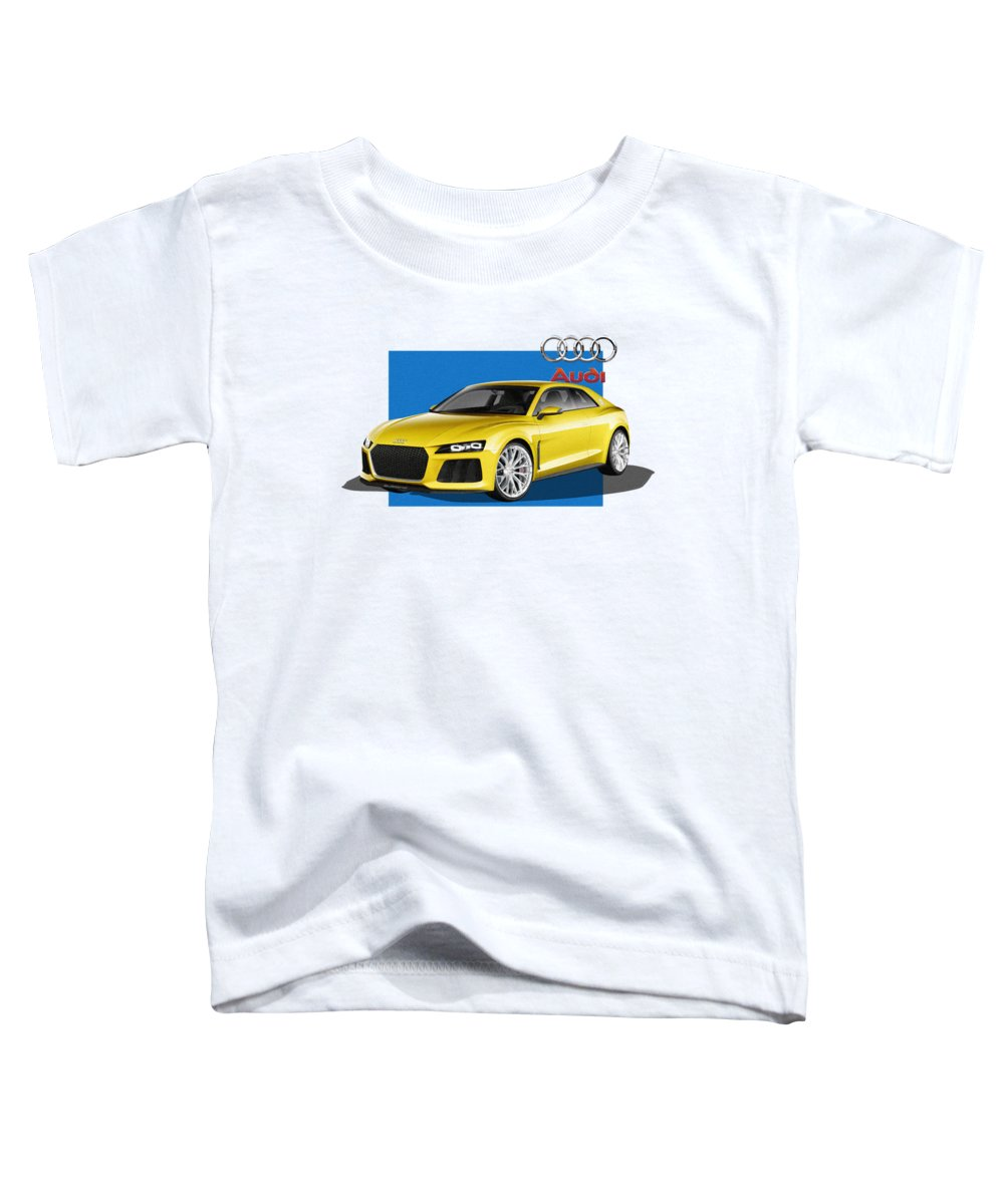 �audi� Collection By Serge Averbukh Toddler T-Shirt featuring the photograph Audi Sport Quattro Concept with 3 D Badge by Serge Averbukh