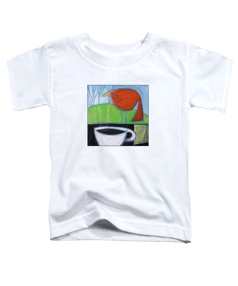 Bird Toddler T-Shirt featuring the painting Coffee With Red Bird by Tim Nyberg