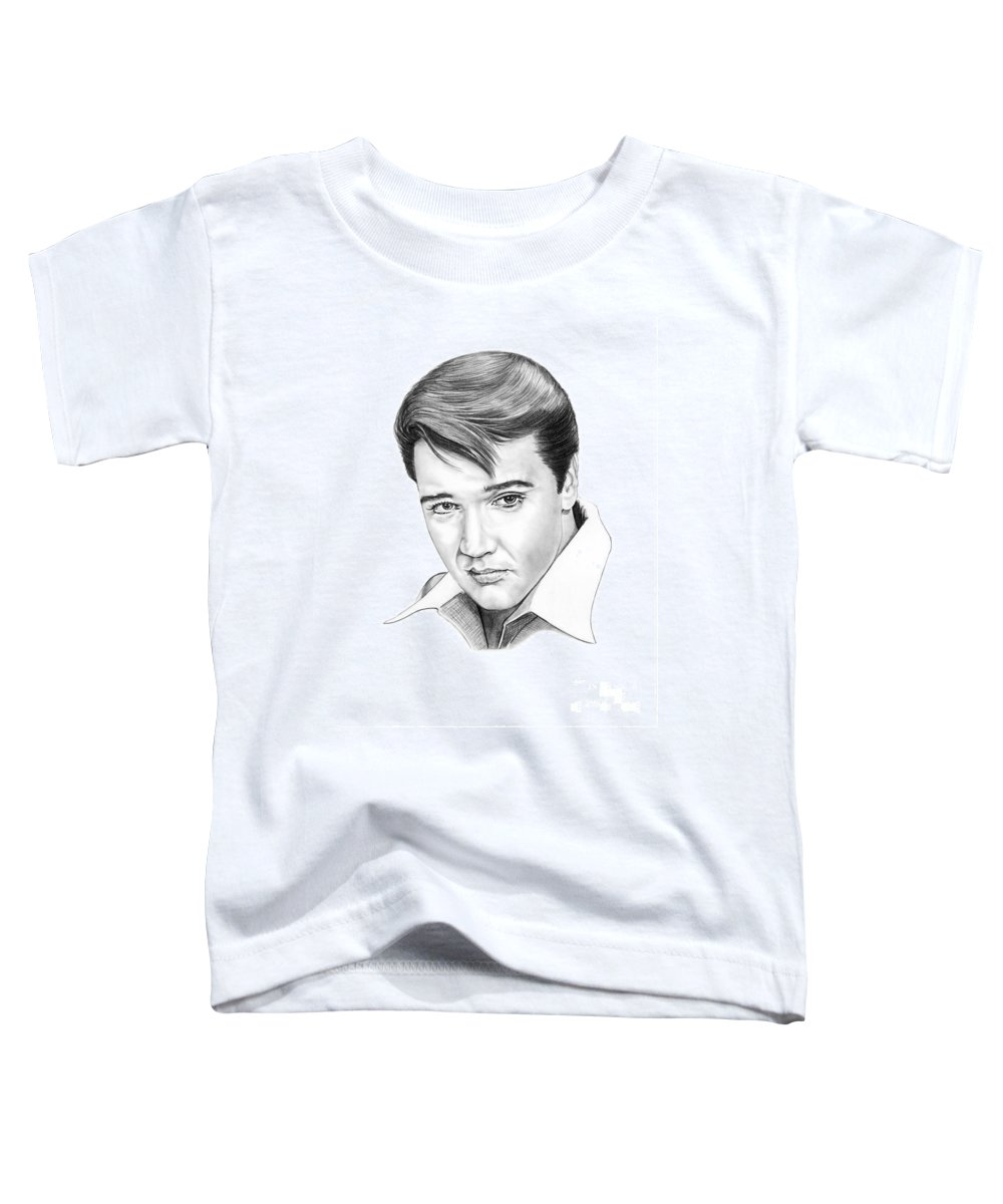 Portrait Toddler T-Shirt featuring the drawing Elvis Presley by Murphy Elliott