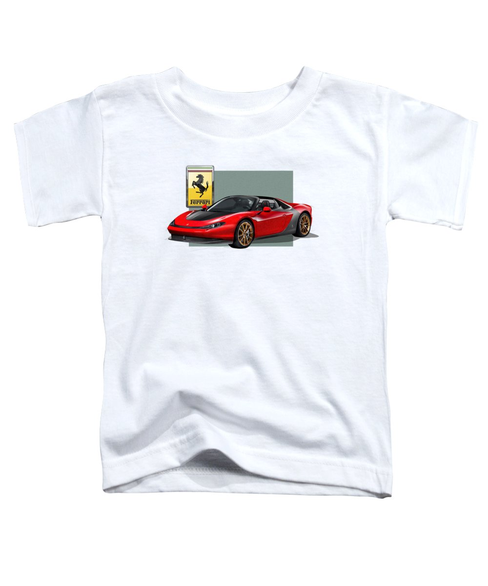 �ferrari� Collection By Serge Averbukh Toddler T-Shirt featuring the photograph Ferrari Sergio with 3D Badge by Serge Averbukh