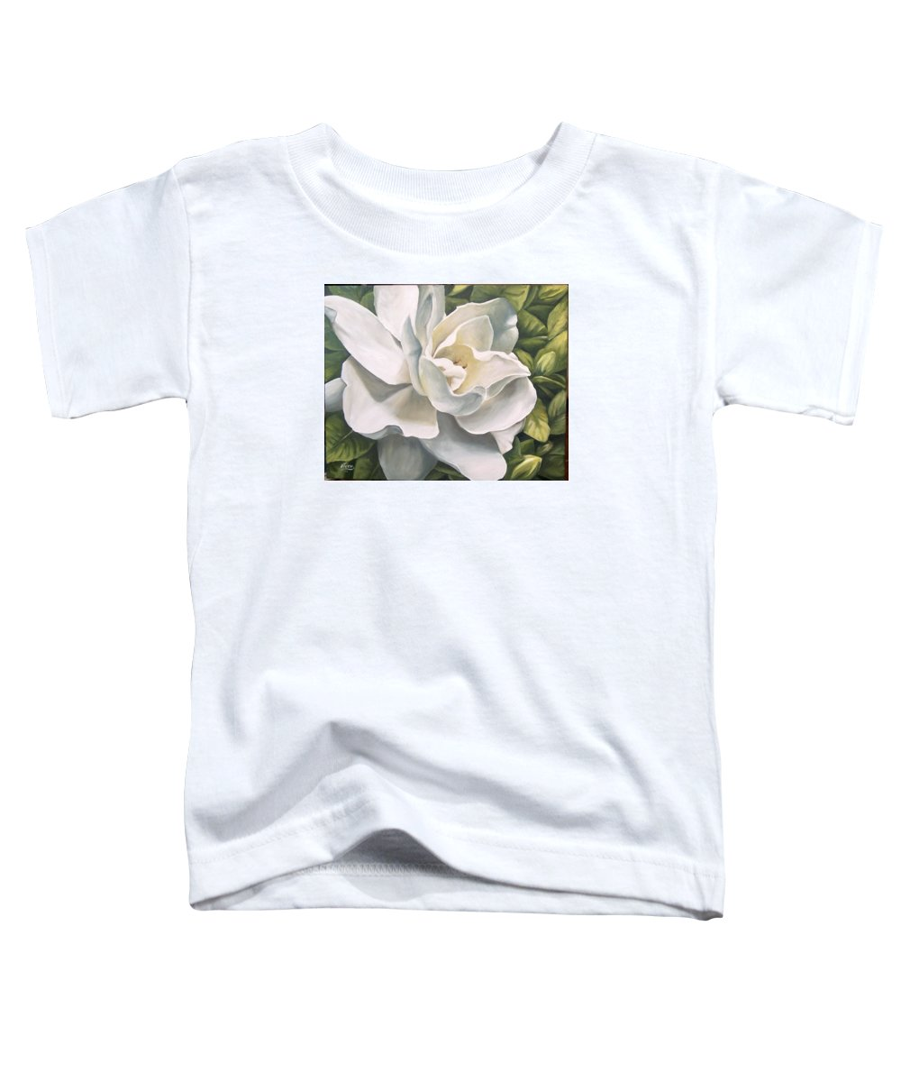 Flower Toddler T-Shirt featuring the painting Gardenia by Natalia Tejera
