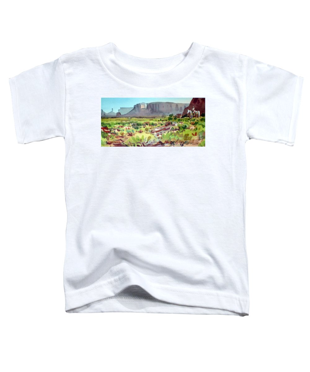 Navajo Toddler T-Shirt featuring the painting Lone Rider by Donald Maier