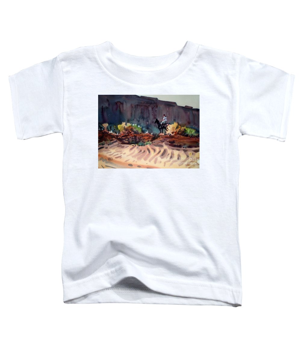Equestrian Toddler T-Shirt featuring the painting Navajo Rider by Donald Maier