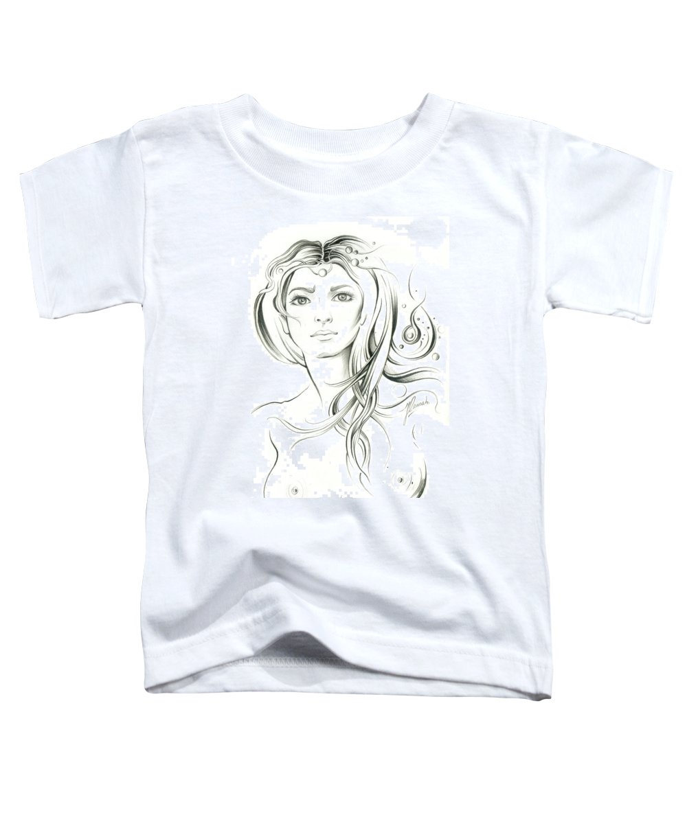 Beautiful Toddler T-Shirt featuring the drawing News From Outer Space by Anna Ewa Miarczynska