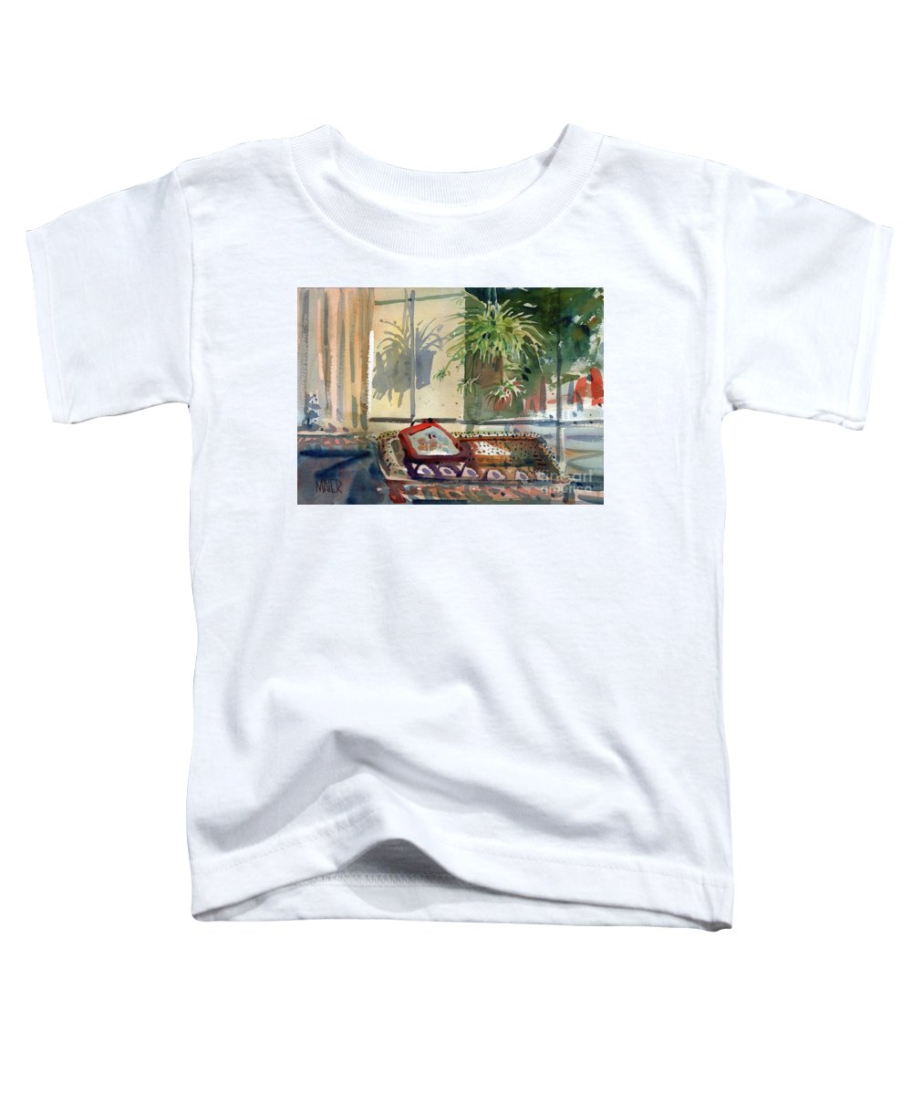 Spider Plant Toddler T-Shirt featuring the painting Spider Plant In The Window by Donald Maier