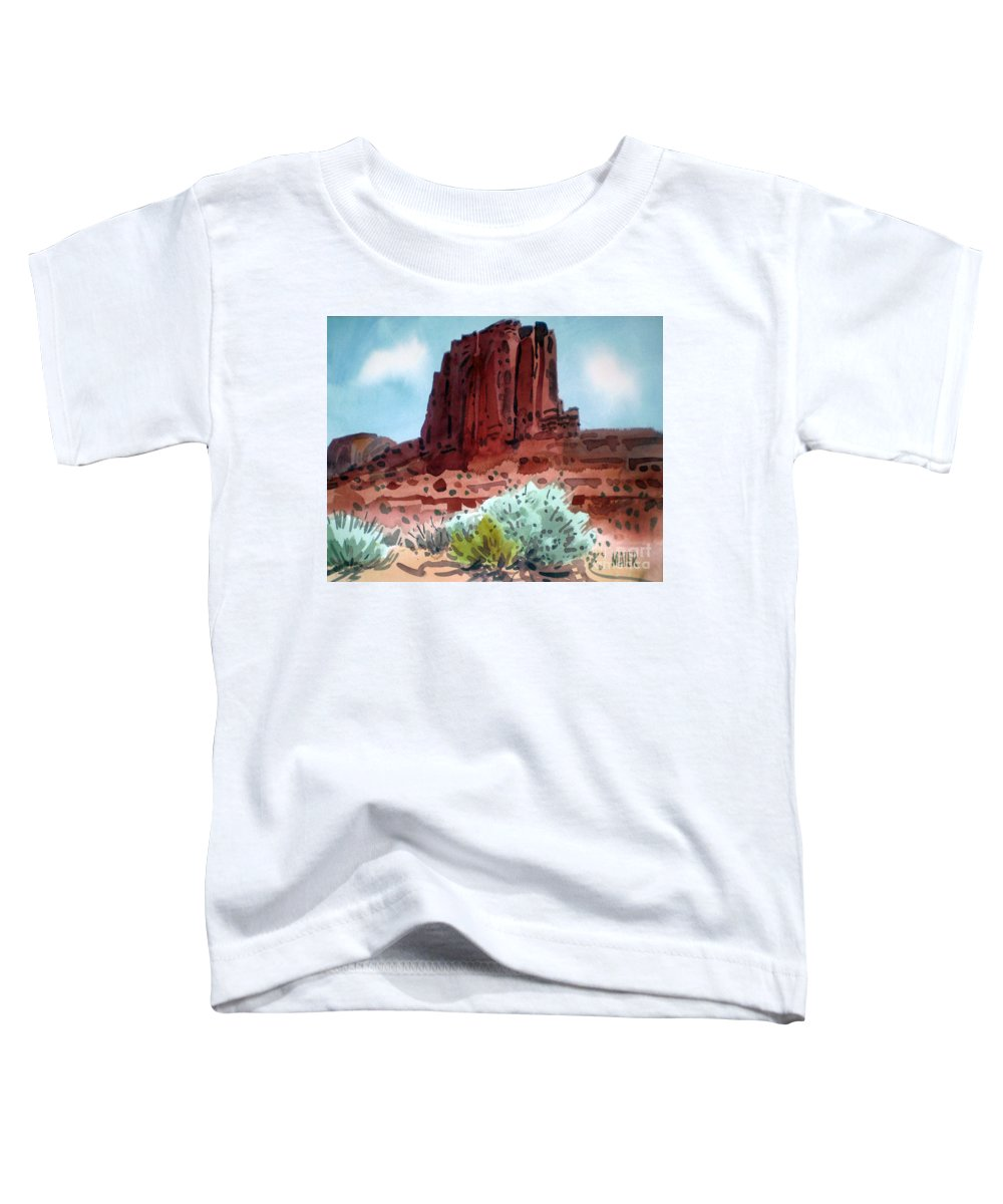 Elephants Butte Toddler T-Shirt featuring the painting Two Elephants Butte by Donald Maier
