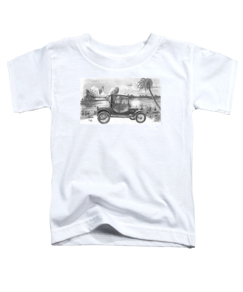 Pencil Toddler T-Shirt featuring the drawing Yesterday And Today by Murphy Elliott