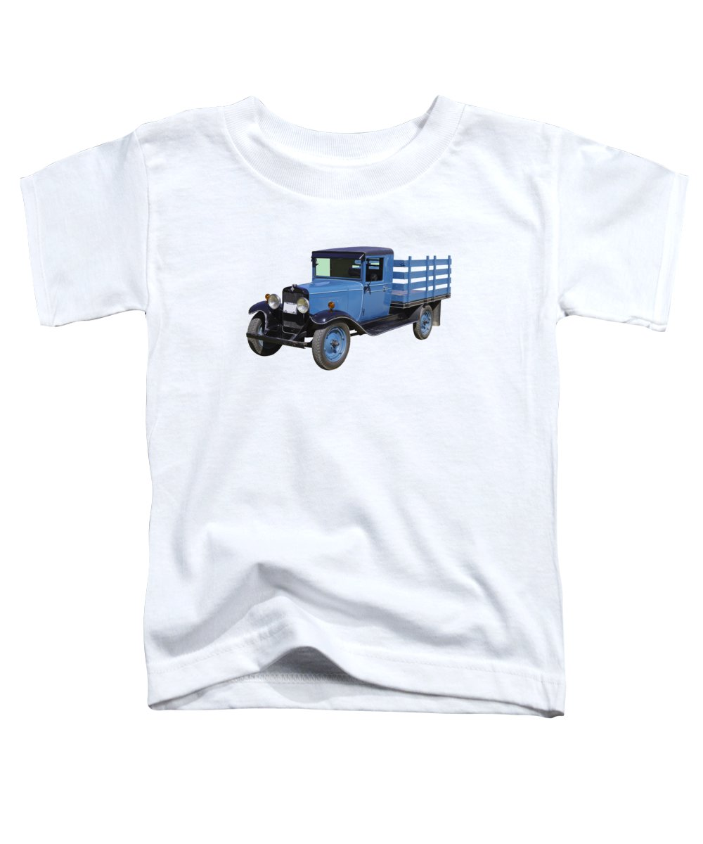 1929 Toddler T-Shirt featuring the photograph 1929 Blue Chevy Truck 1 Ton Stake Body by Keith Webber Jr