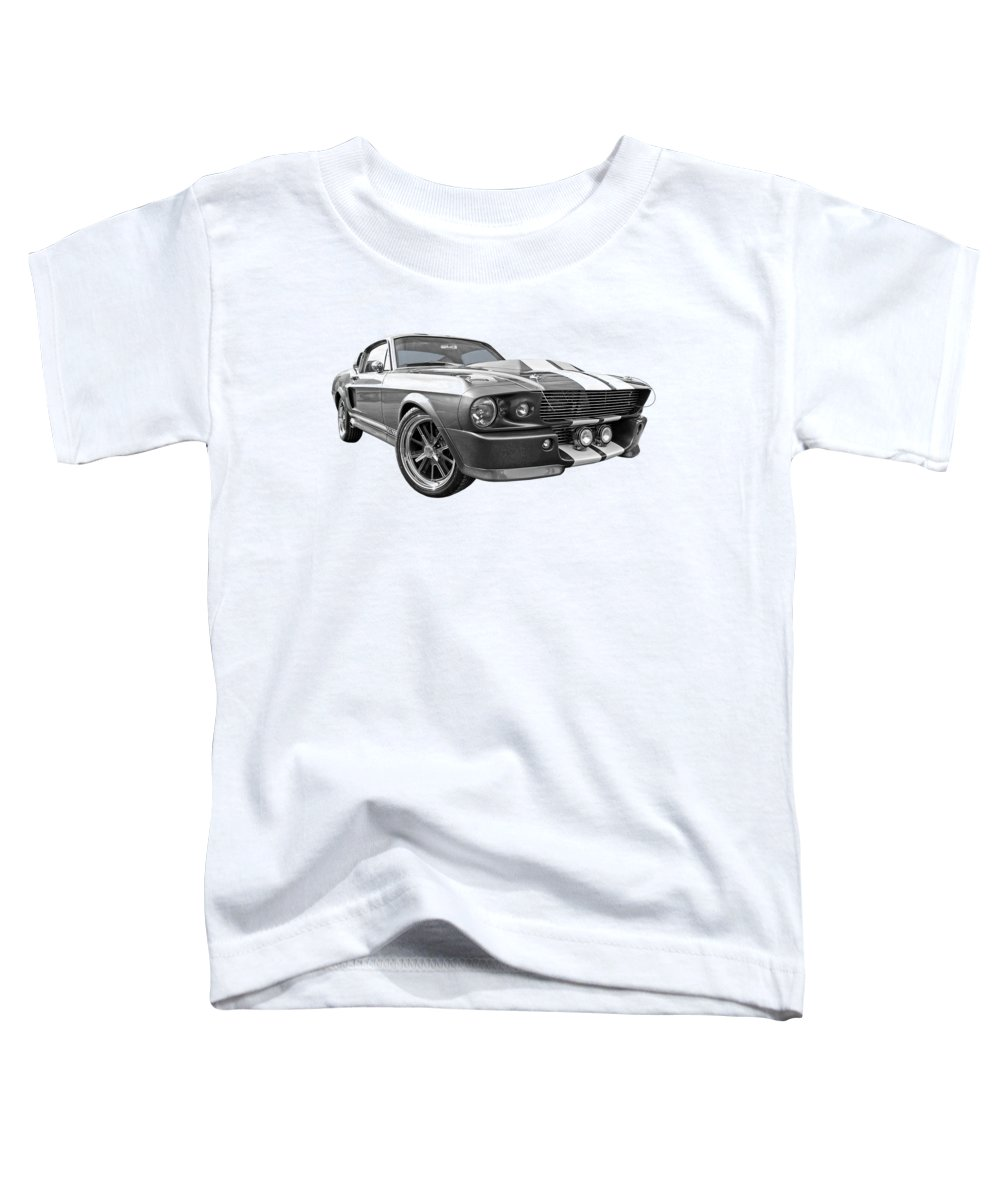 Ford Mustang Toddler T-Shirt featuring the photograph 1967 Eleanor Mustang In Black And White 1967 by Gill Billington