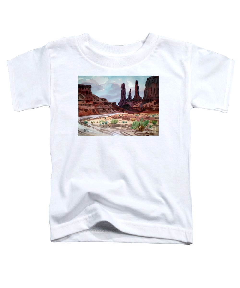 Monument Valley Toddler T-Shirt featuring the painting Three Sisters by Donald Maier