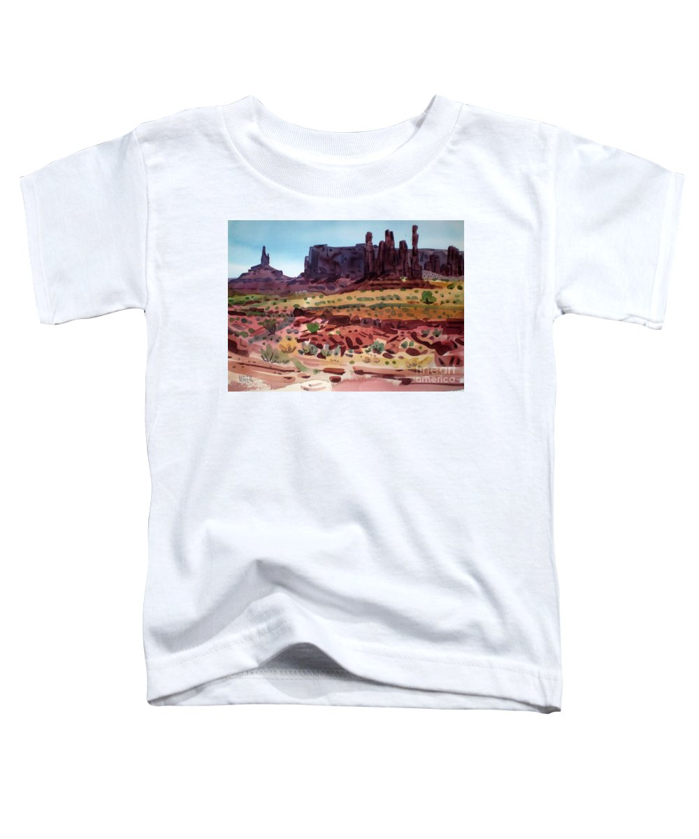 Monument Valley Toddler T-Shirt featuring the painting Totem Poles by Donald Maier