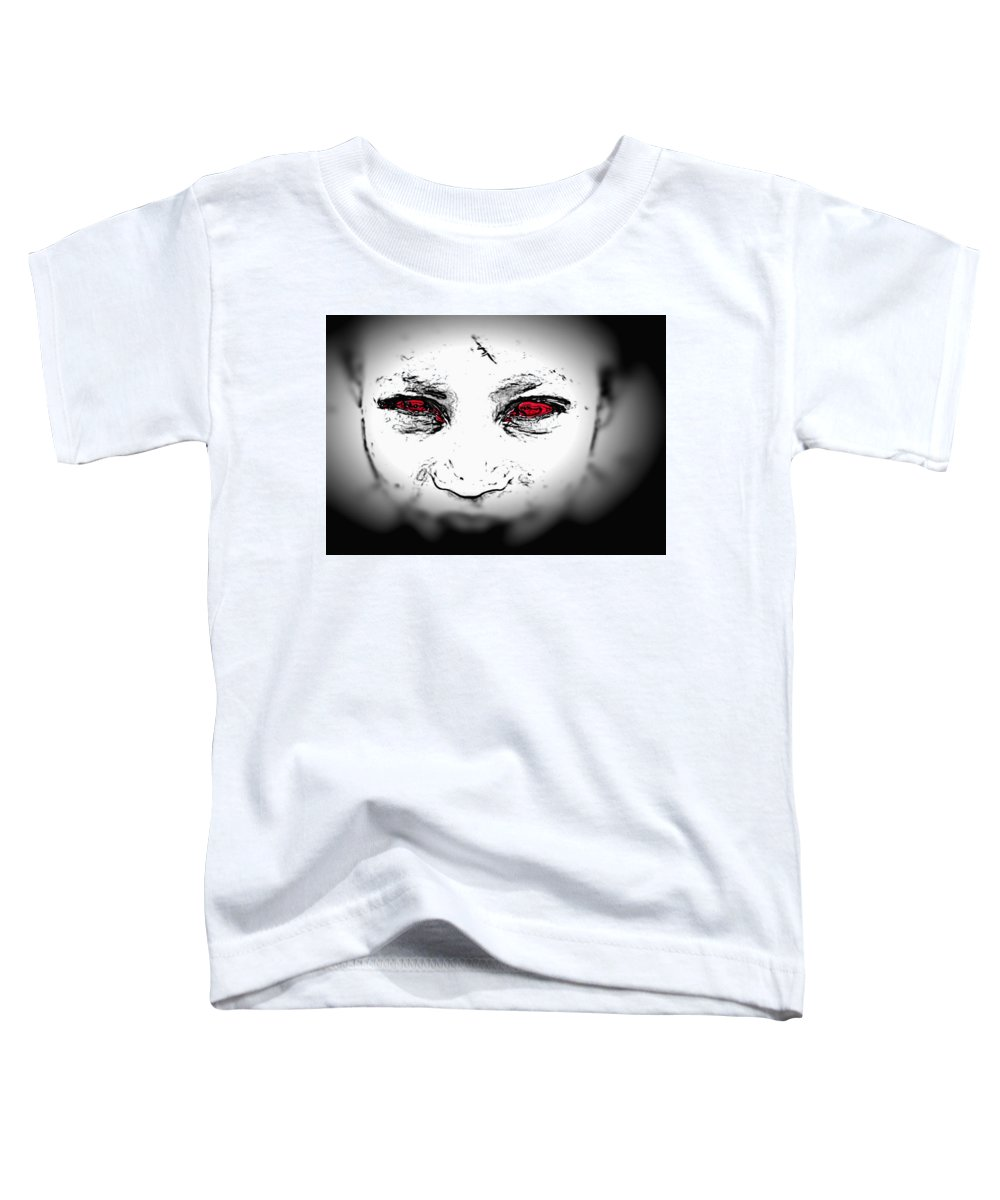 Eyes Face Looks Black And White Red Toddler T-Shirt featuring the digital art Untitled by Veronica Jackson