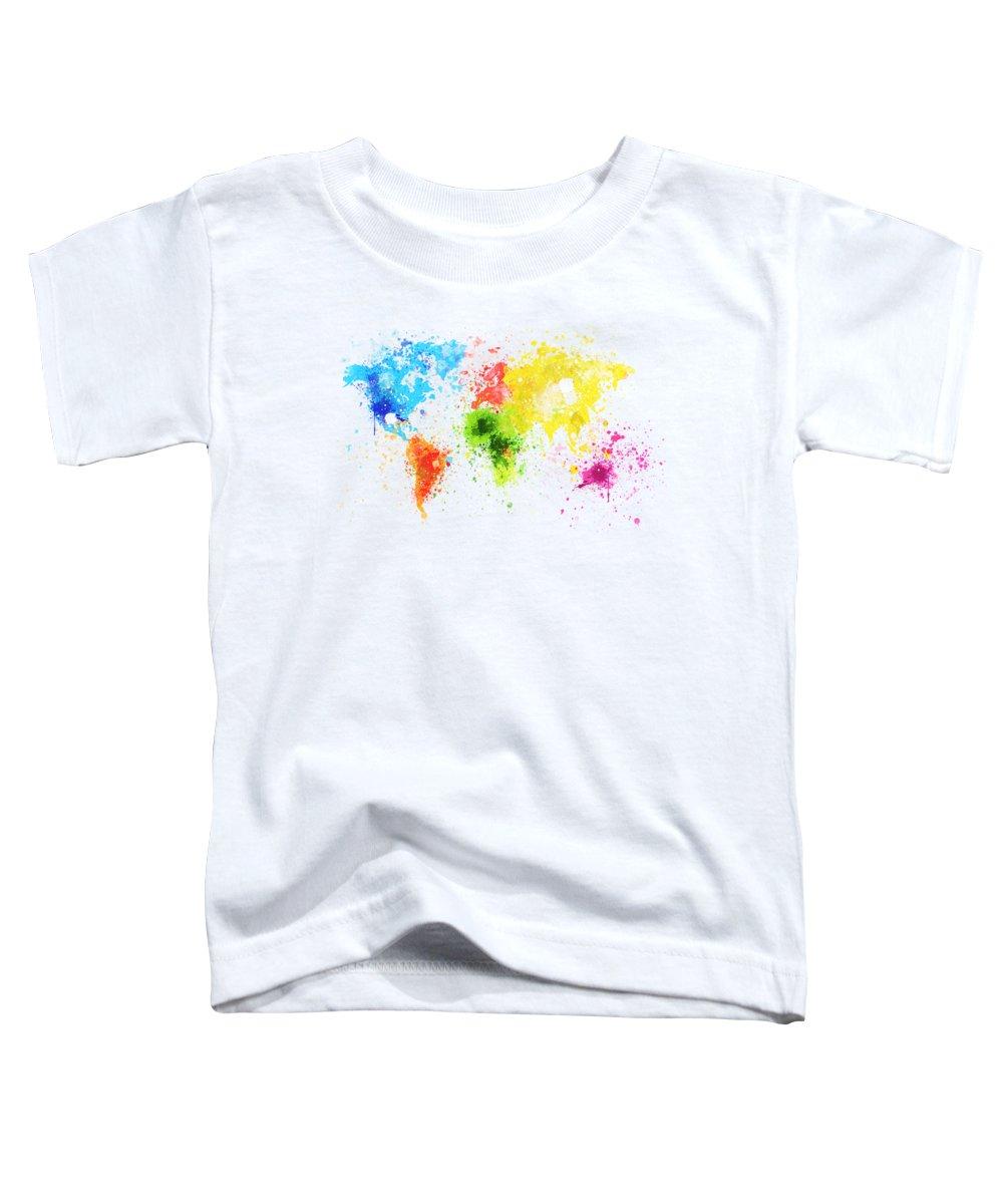Adventure Toddler T-Shirt featuring the painting World Map Painting by Setsiri Silapasuwanchai