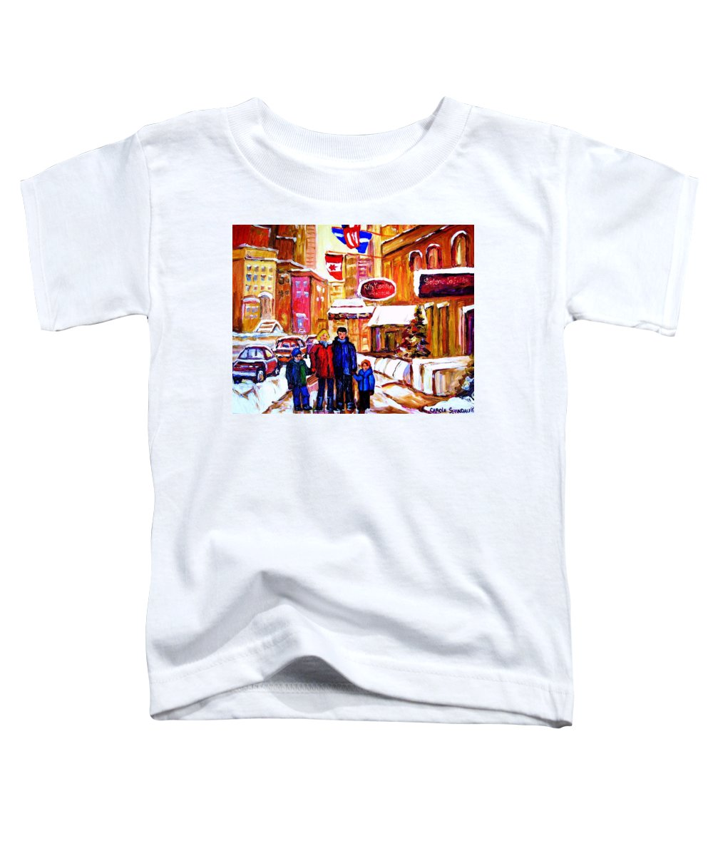 Montreal Toddler T-Shirt featuring the painting Montreal Street In Winter by Carole Spandau