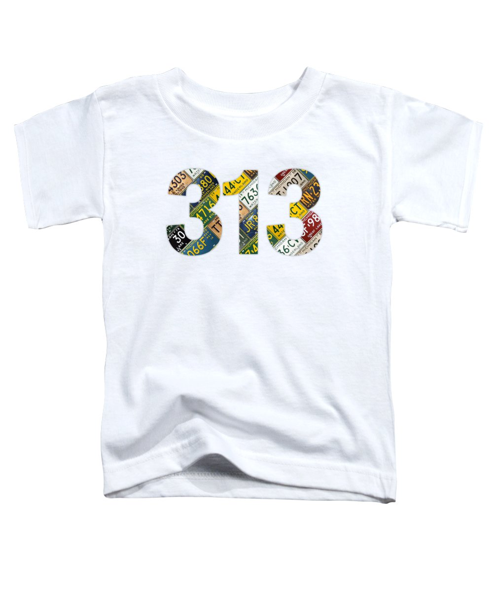 313 Toddler T-Shirt featuring the mixed media 313 Area Code Detroit Michigan Recycled Vintage License Plate Art On White Background by Design Turnpike