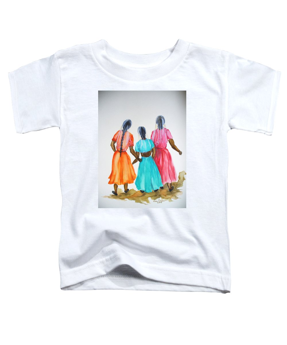 Three Ladies East Indian Toddler T-Shirt featuring the painting 3bff by Karin Dawn Kelshall- Best