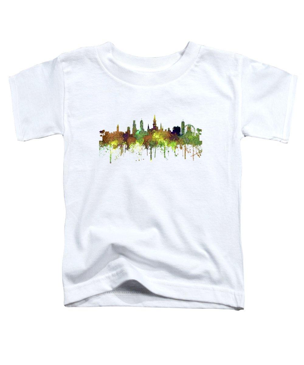 New Orleans Louisiana Skyline Toddler T-Shirt featuring the digital art New Orleans Louisiana Skyline by Marlene Watson