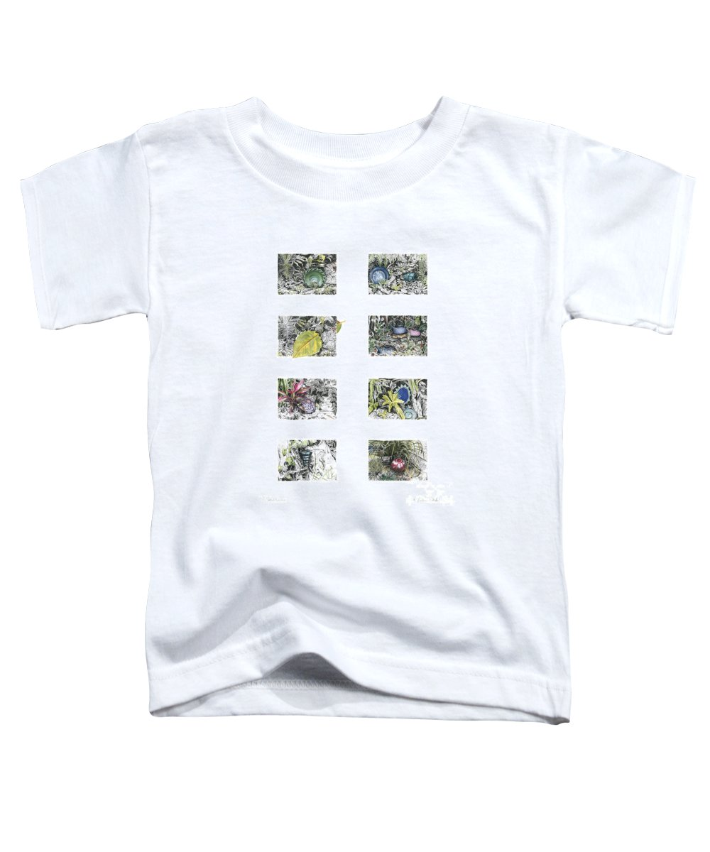 Tropical Toddler T-Shirt featuring the drawing A Potters Garden by Kerryn Madsen-Pietsch