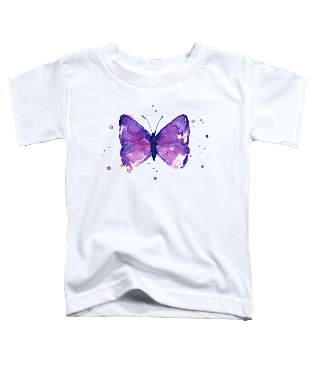 Abstract Toddler T-Shirt featuring the painting Abstract Purple Butterfly Watercolor by Olga Shvartsur