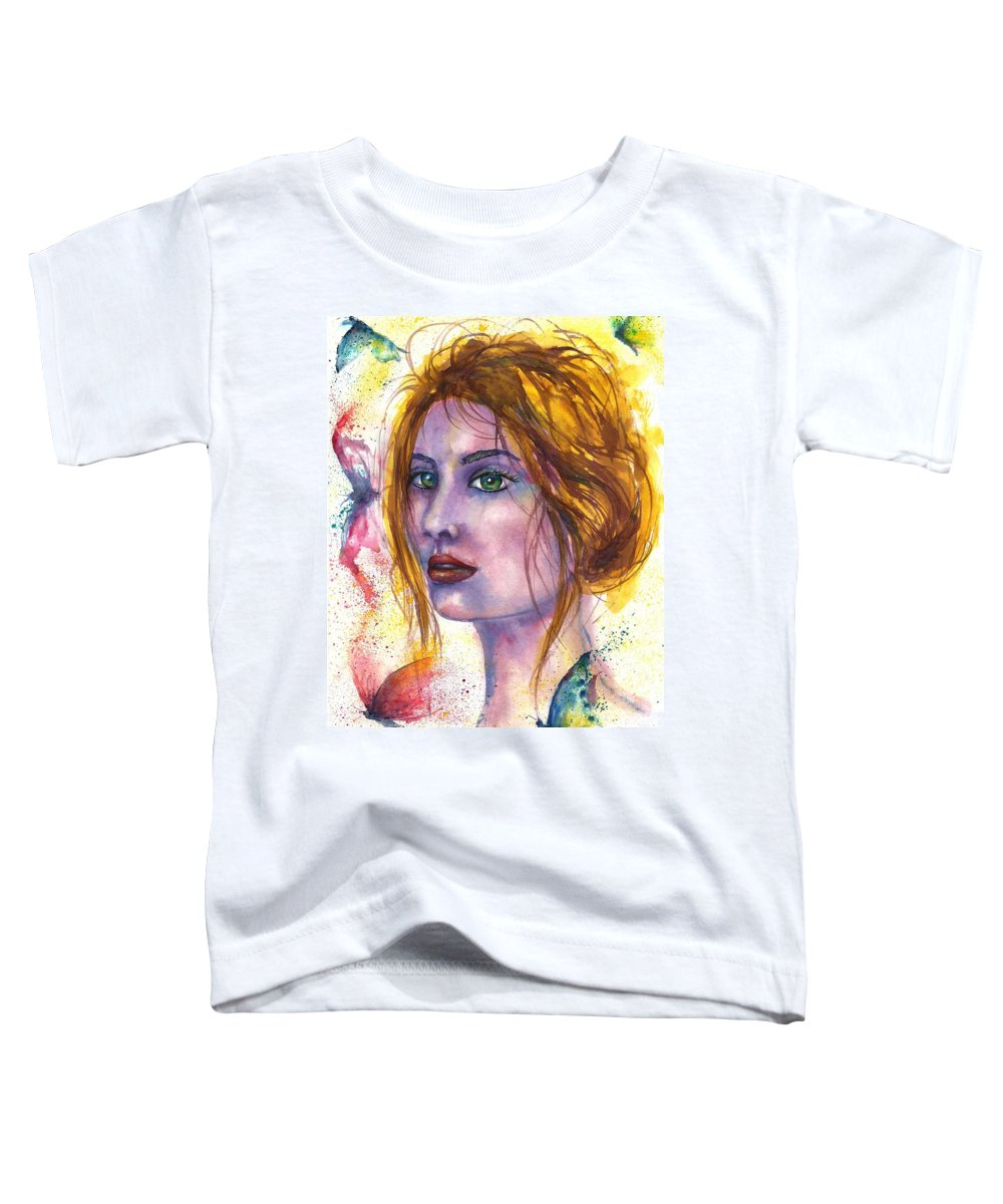 Women Face Toddler T-Shirt featuring the painting Abstract women face by Natalja Picugina