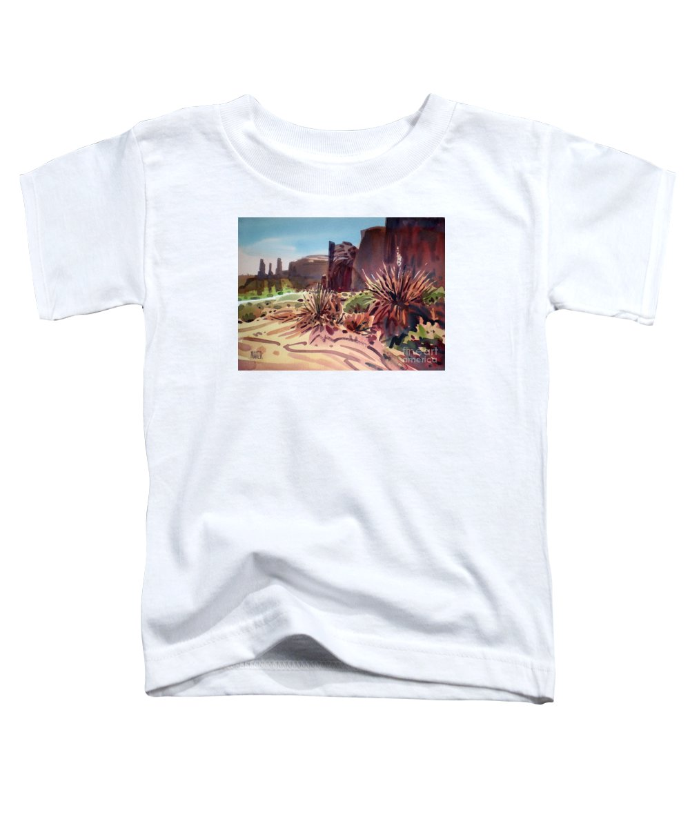Monument Valley Toddler T-Shirt featuring the painting Across Monument Valley by Donald Maier