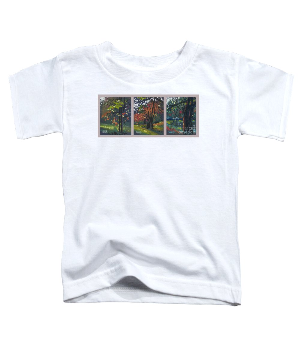Autumn Foliage Toddler T-Shirt featuring the painting Across The Creek Triplet by Donald Maier
