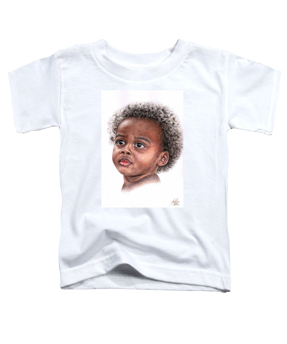 Child Toddler T-Shirt featuring the drawing African Child by Nicole Zeug