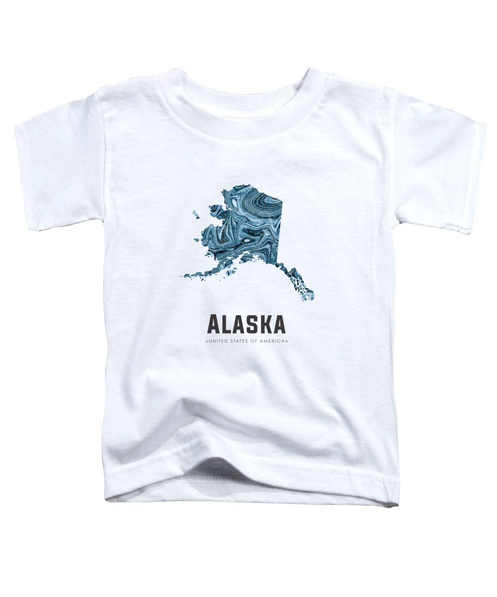 Alaska Toddler T-Shirt featuring the mixed media Alaska Map Art Abstract In Blue by Studio Grafiikka