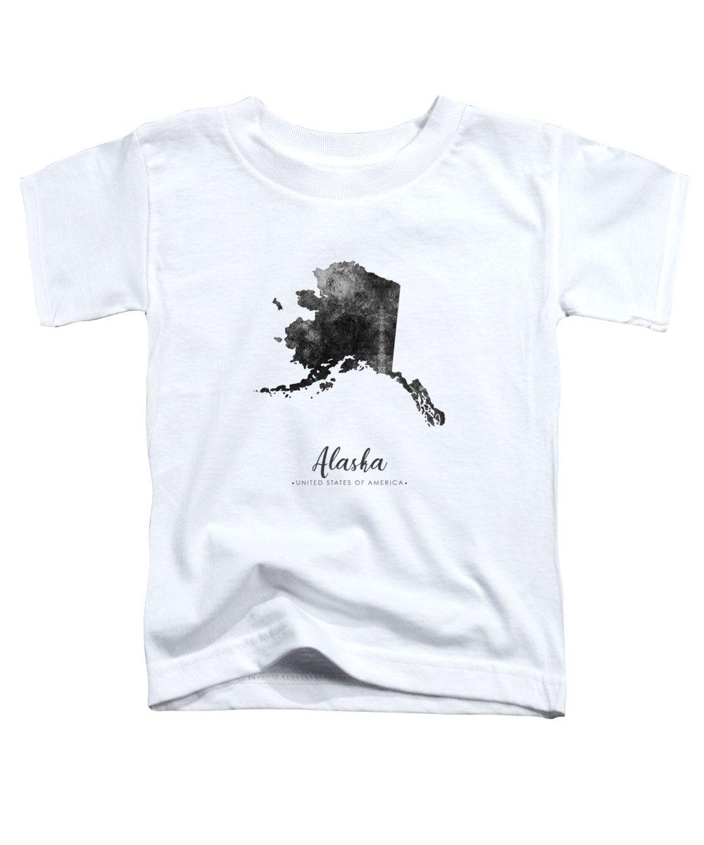 Alaska Toddler T-Shirt featuring the mixed media Alaska State Map Art - Grunge Silhouette by Studio Grafiikka