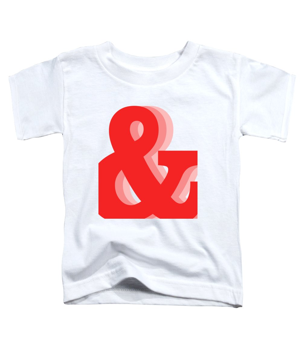 & Toddler T-Shirt featuring the mixed media Ampersand - Red - And Symbol - Minimalist Print by Studio Grafiikka